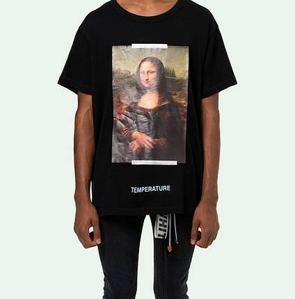 Футболка мужская OFF White SS18 Mona Lisa Мона лиза Black Черная , фото 2