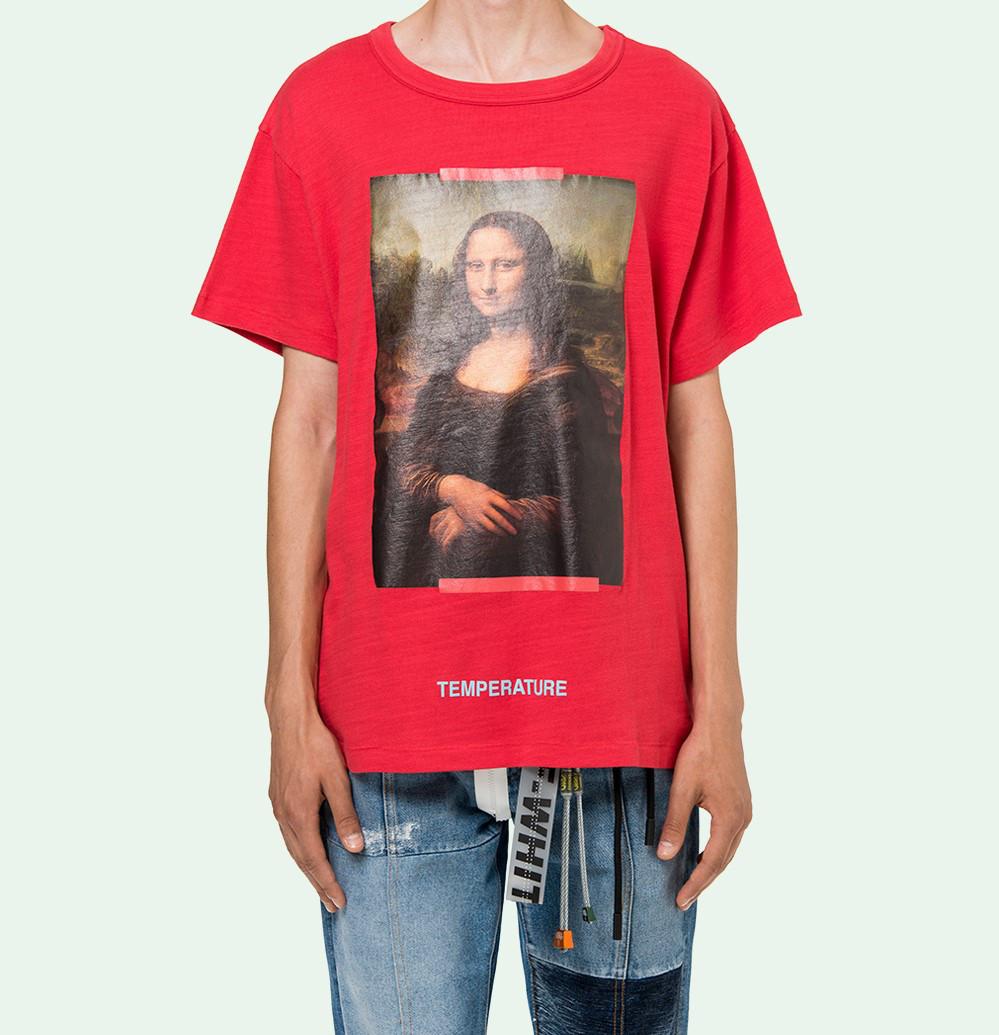 Футболка мужская OFF White SS18 Mona Lisa Мона лиза Red Красная