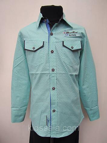 Нарядная детская рубашка для мальчика 128 роста Мята, фото 2