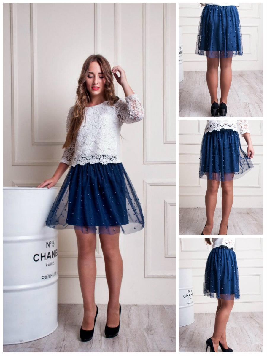 Стильная молодежная юбка клеш фатин с бусинками. 40-44