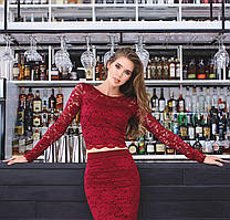 Кружевная кофта с длинным рукавом, цвет бордо