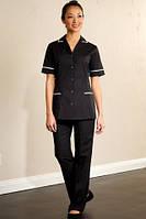 Костюм для горничной с брюками черный с белым кантом Atteks - 00803
