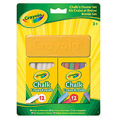 Набор Crayola Мелки белые и цветные с губкой (98268) 24 шт. Оригинал