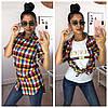 """Женский набор 2-ка: футболка """"GUCCI"""" и рубашка в расцветках. МС-1-0818, фото 2"""