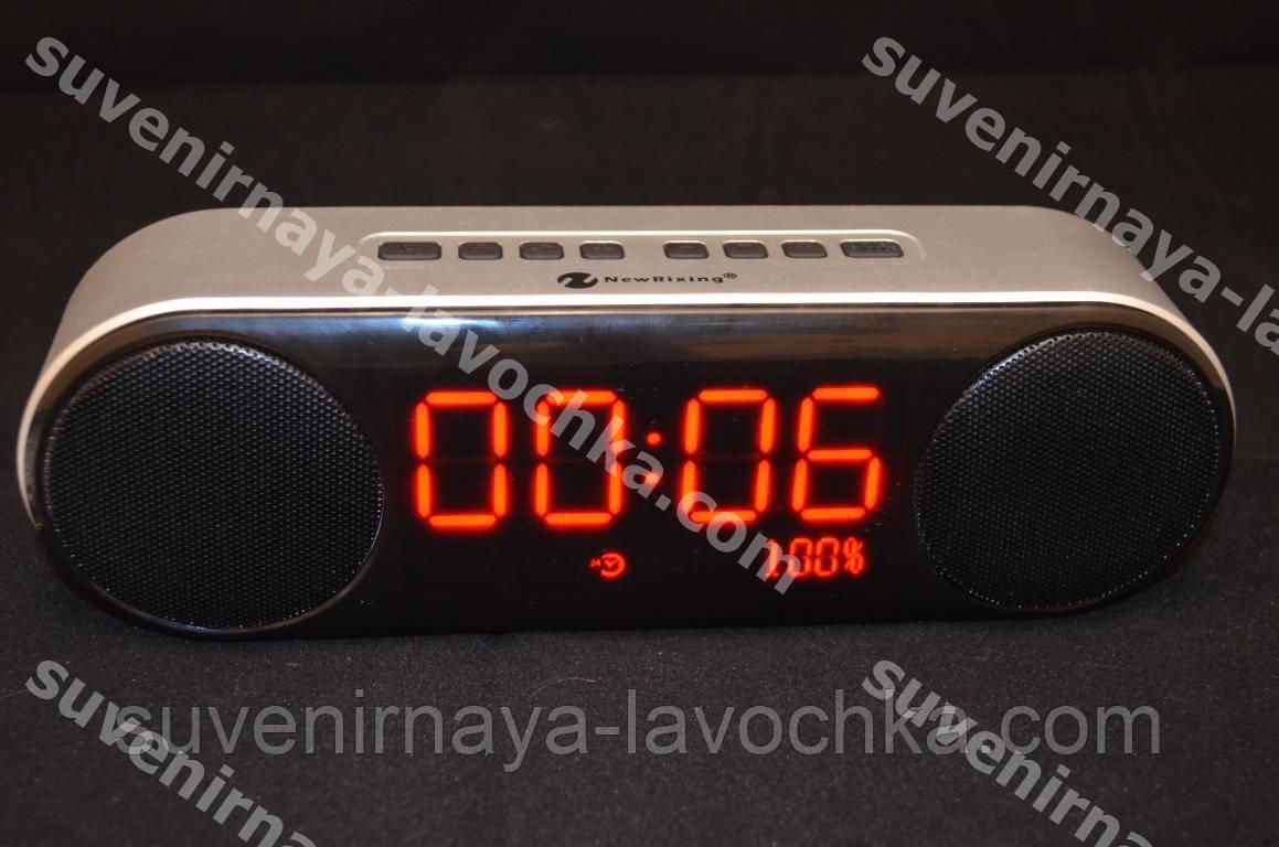 Портативная bluetooth колонка с часами и будильником
