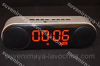 Портативна bluetooth колонка з годинником і будильником