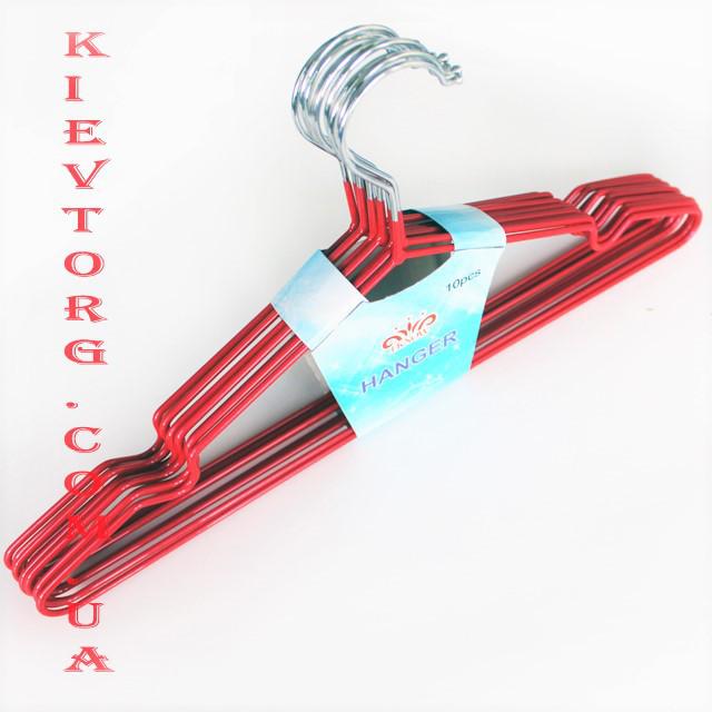 Плечики вешалки тремпеля металлические силиконовые для женской одежды красные, 40 см,10 шт
