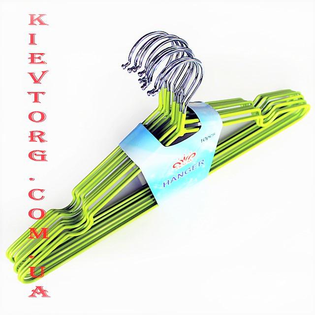 Плечики вешалки металлические в силиконовом покрытии салатового цвета, длина 40 см