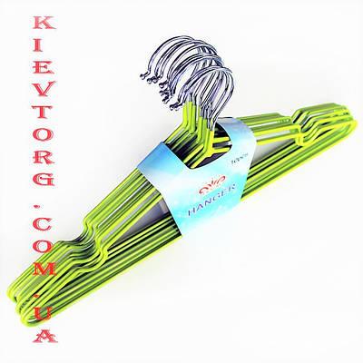 Плечики вешалки металлические в силиконовом покрытии салатового цвета, длина 400 мм