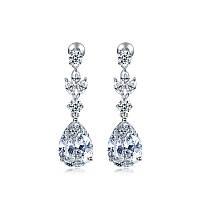 Серьги для невесты вечерняя бижутерия с крупными кристаллами Океанида 900054