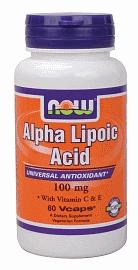 Альфа ліпоєва кислота, Now Foods, Alpha Lipoic Acid, 100 mg, Caps 60
