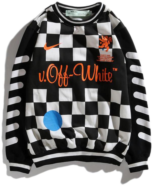 Мужской свитшот Off-White x Nike (Офф Найк) черно-белая