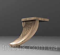 Ножка для тумбы гнутая в форме лепестка из дерева. Опора мебельная резная с площадкой. Ясень.100 мм., фото 2