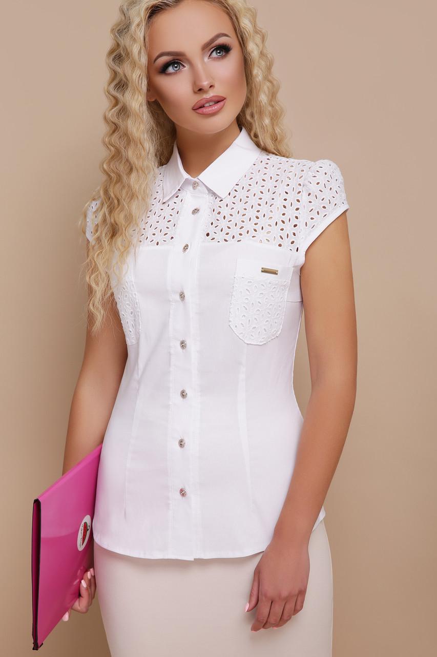 e5258cd2f42 Летняя блузка с коротким рукавом и прошвой Фауста