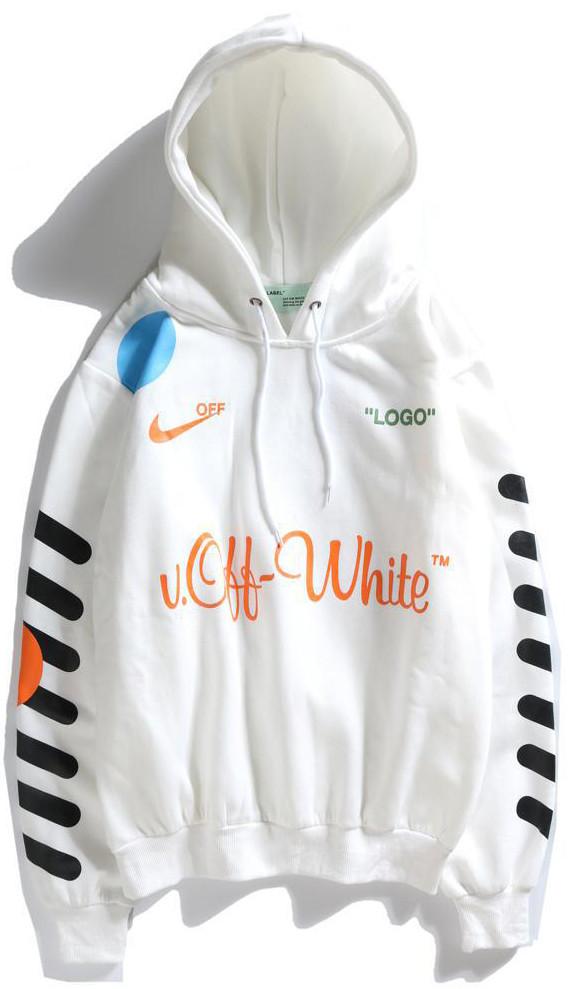 Мужская кофта с капюшоном Off-White (Офф Вайт) белая