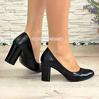 Кожаные женские туфли на устойчивом высоком каблуке. , фото 1