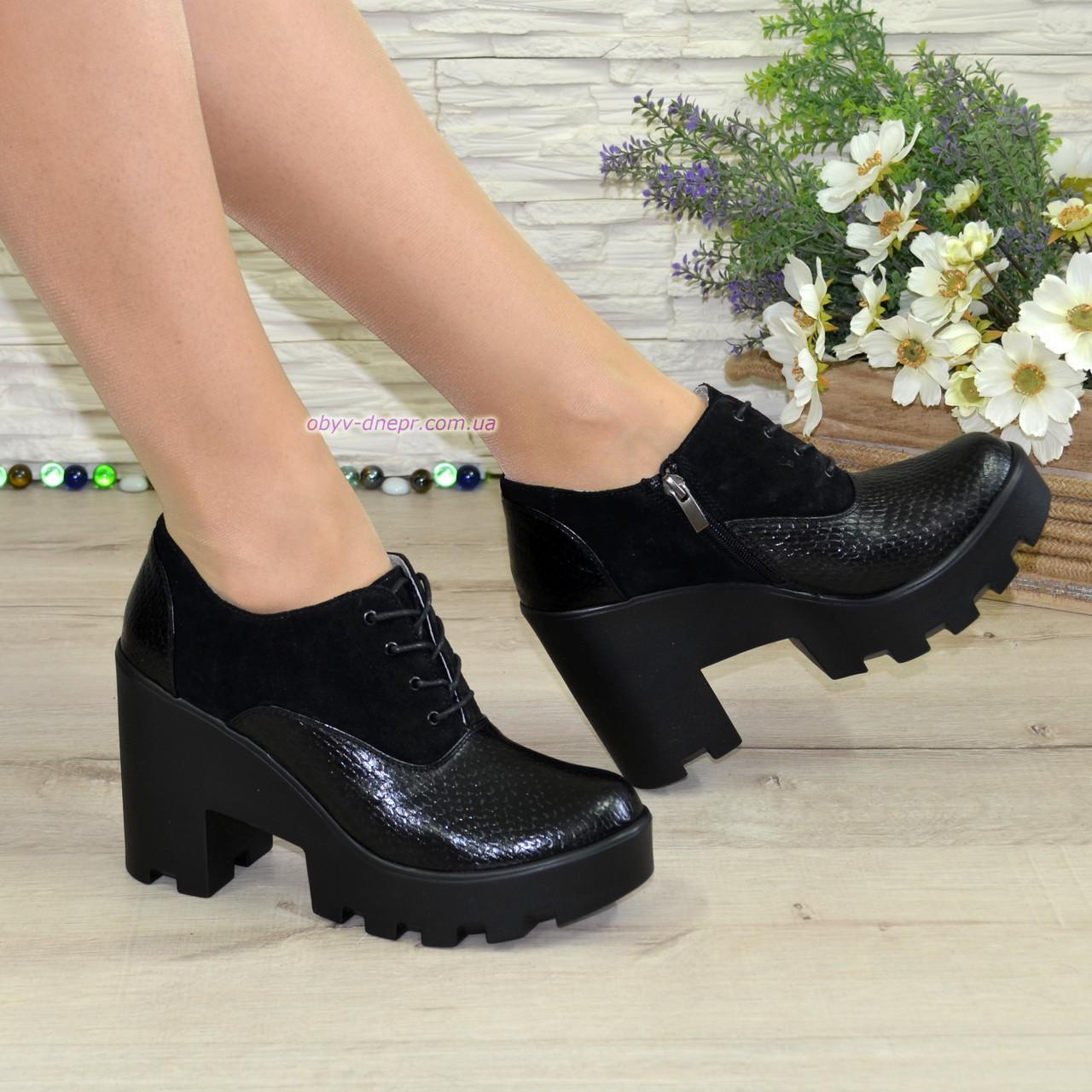 a2fb48346 Женские стильные туфли на шнуровке, высокий каблук. Натуральная кожа питон  и замш - Интернет