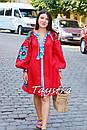 Короткое платье красное вышиванка лен, этно, стиль бохо шик, вишите плаття вишиванка, Bohemian,стиль Вита Кин, фото 5