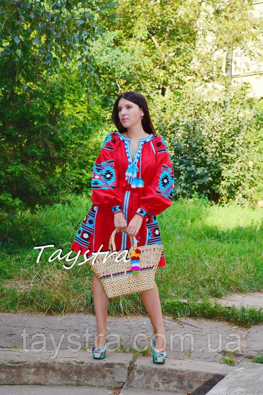 Короткое платье красное вышиванка лен, этно, стиль бохо шик, вишите плаття вишиванка, Bohemian,стиль Вита Кин