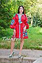 Короткое платье красное вышиванка лен, этно, стиль бохо шик, вишите плаття вишиванка, Bohemian,стиль Вита Кин, фото 6