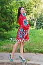 Короткое платье красное вышиванка лен, этно, стиль бохо шик, вишите плаття вишиванка, Bohemian,стиль Вита Кин, фото 8
