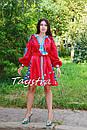 Короткое платье красное вышиванка лен, этно, стиль бохо шик, вишите плаття вишиванка, Bohemian,стиль Вита Кин, фото 9