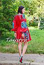 Короткое платье красное вышиванка лен, этно, стиль бохо шик, вишите плаття вишиванка, Bohemian,стиль Вита Кин, фото 3