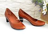 """Женские туфли на каблуке из натуральной кожи рыжего цвета. ТМ """"Maestro"""", фото 3"""