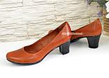 """Женские туфли на каблуке из натуральной кожи рыжего цвета. ТМ """"Maestro"""", фото 4"""