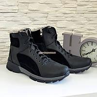 Ботинки мужские кожаные черные на шнуровке и молнии, зима/осень