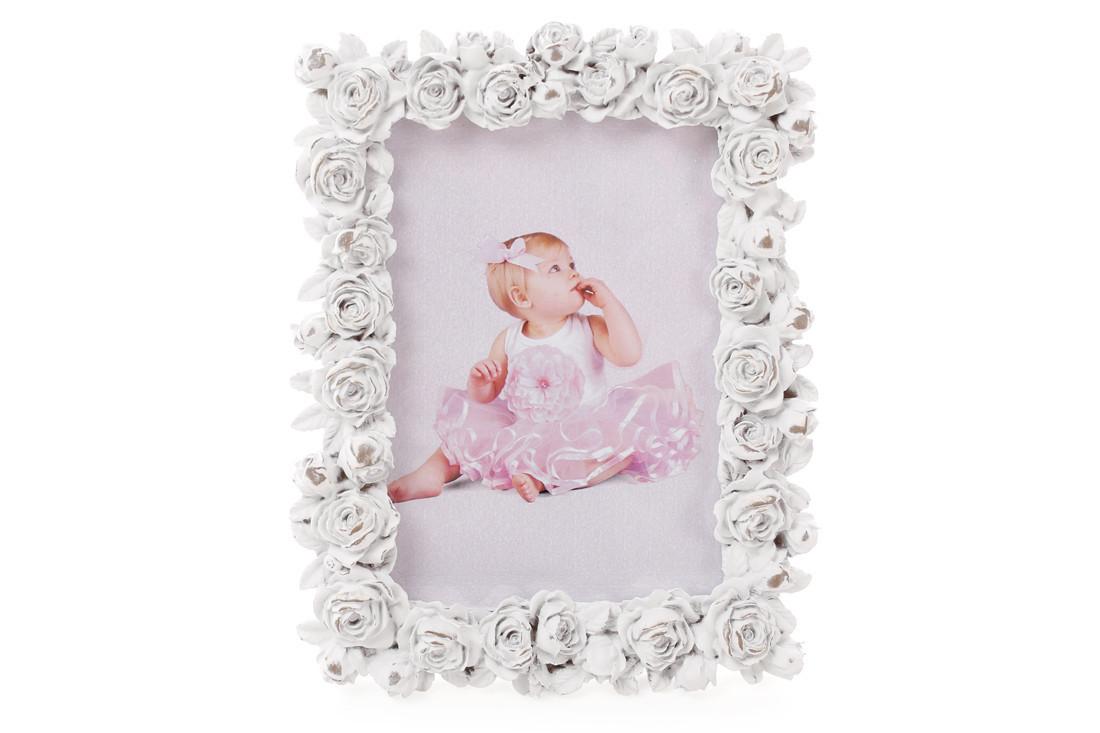 Рамка для фото 17см настольная Розы из искусственного камня белая (493-714)