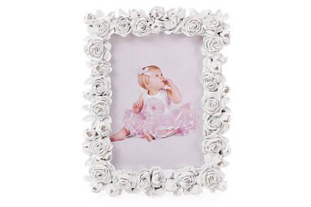 Рамка для фото 17см настольная Розы из искусственного камня белая (493-714), фото 2