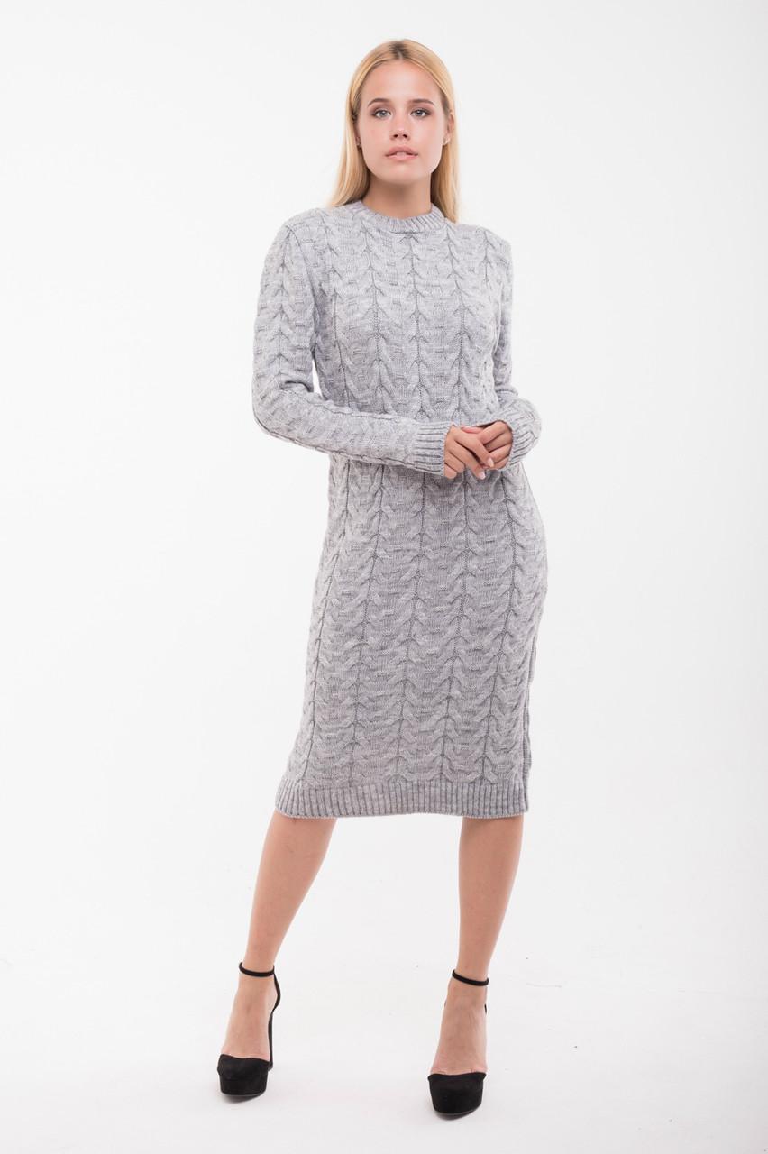 Вязаное платье Колос 42-48 серый