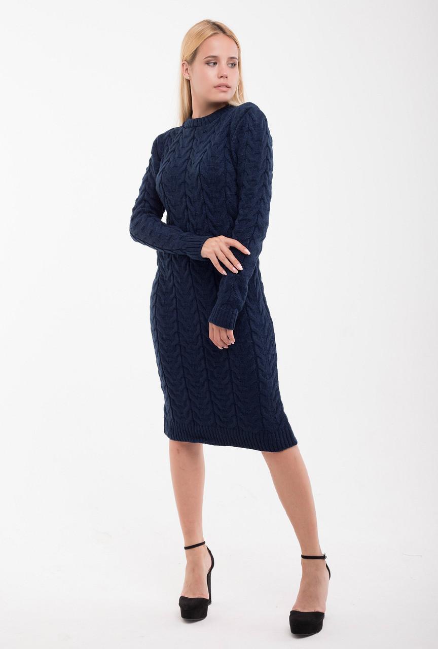 Вязаное платье Колос 42-48 синий