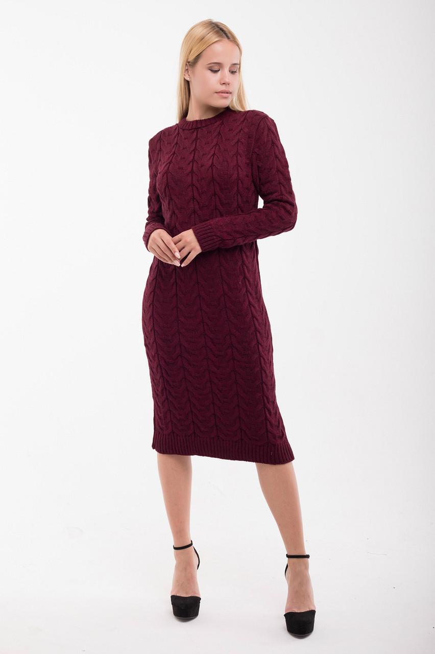 Вязаное платье Колос 42-48 бордо