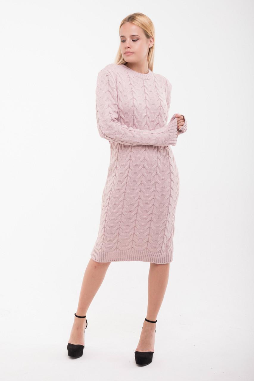 Вязаное платье Колос 42-48 персик
