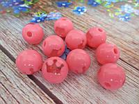 Пластиковые камни-висюльки, шар с короной, цвет розовый пастельный, d 14 мм, 1 шт