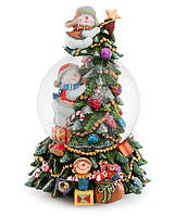 """Снежный шар 18см Новогодняя Елка с музыкой """"В лесу родилась ёлочка"""" на заводном механизме"""