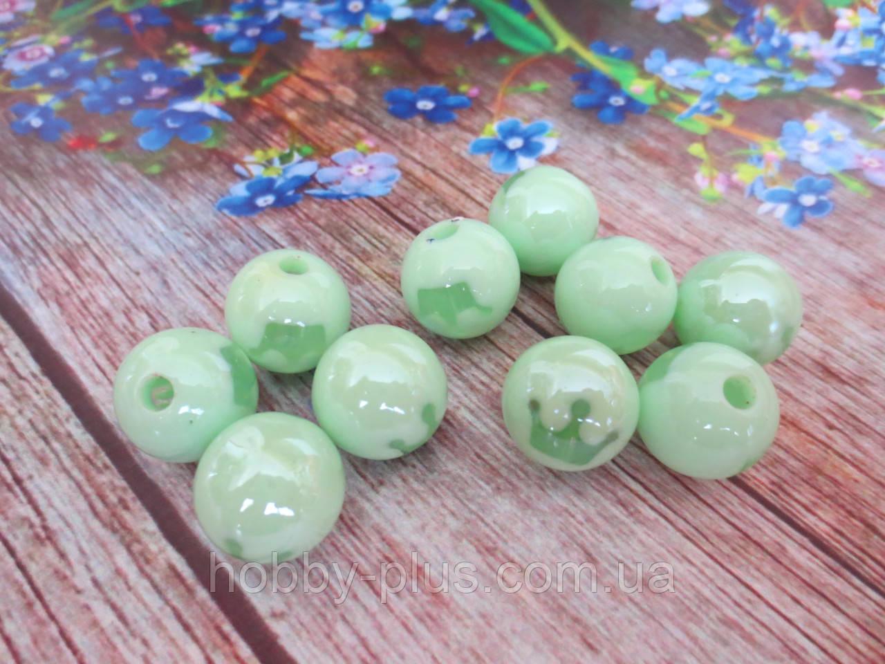 Пластиковые камни-висюльки, шар с короной, цвет салатовый пастельный, d 14 мм, 1 шт