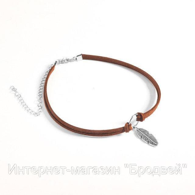 Чокер женский коричневый с кулоном