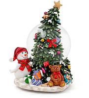 """Снежный шар Снеговик у елки 20 см с музыкой """"В лесу родилась ёлочка"""" на заводном механизме"""