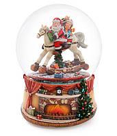 "Снежный шар Санта на лошади 20см с летящим снегом и музыкой ""Jingle Bells"" на батарейках (3хААА)"