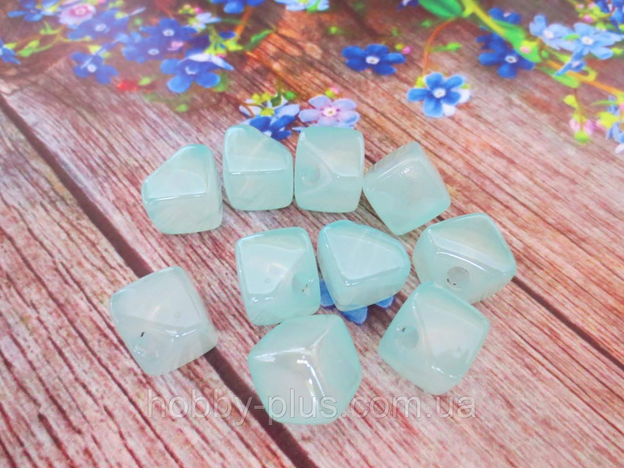Пластиковые камни-висюльки, квадрат перламутровый, цвет мятный пастельный, 12 мм, 1 шт