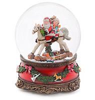 """Снежный шар  Санта на лошади 20см с музыкой """"В лесу родилась ёлочка"""" на заводном механизме"""