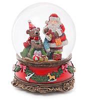 """Снежный шар Санта с Мишкой 20см с музыкой """"В лесу родилась ёлочка"""" на заводном механизме"""