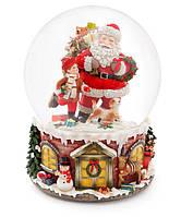 """Снежный шар Санта с подарками 20см с музыкой """"В лесу родилась ёлочка"""" на заводном механизме"""