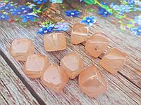 Пластиковые камни-висюльки, квадрат перламутровый, цвет персиковый пастельный, 12 мм, 1 шт