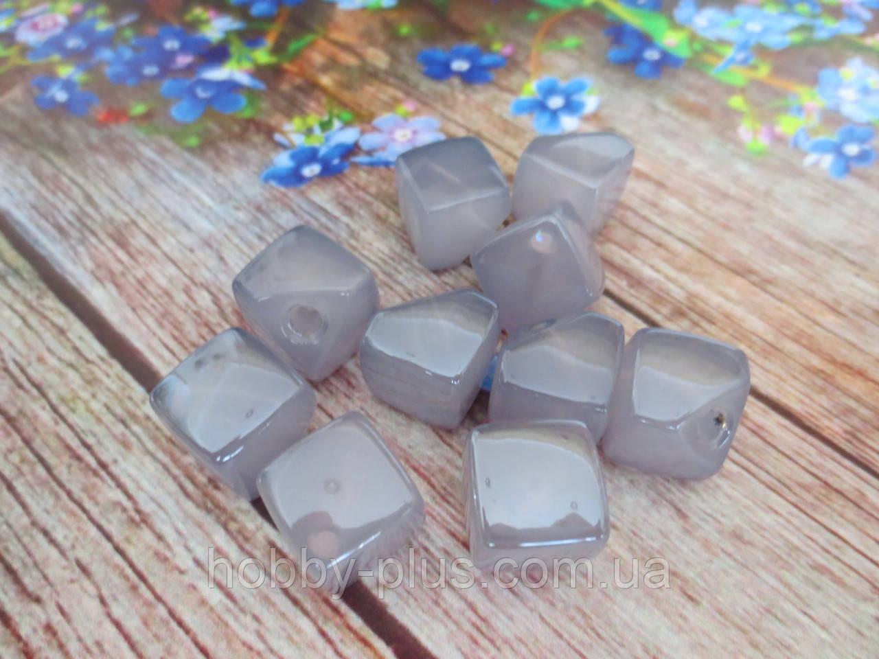 Пластиковые камни-висюльки, квадрат перламутровый, цвет синий пастельный, 12 мм, 1 шт