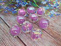 Пластиковые камни-висюльки, шар перламутровый, цвет сиреневый пастельный, d 22 мм, 1 шт