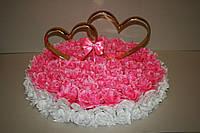 Украшение свадебных машин с розами и сердцами на магните